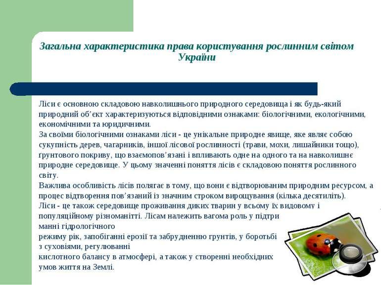 Загальна характеристика права користування рослинним світом України Ліси є ос...