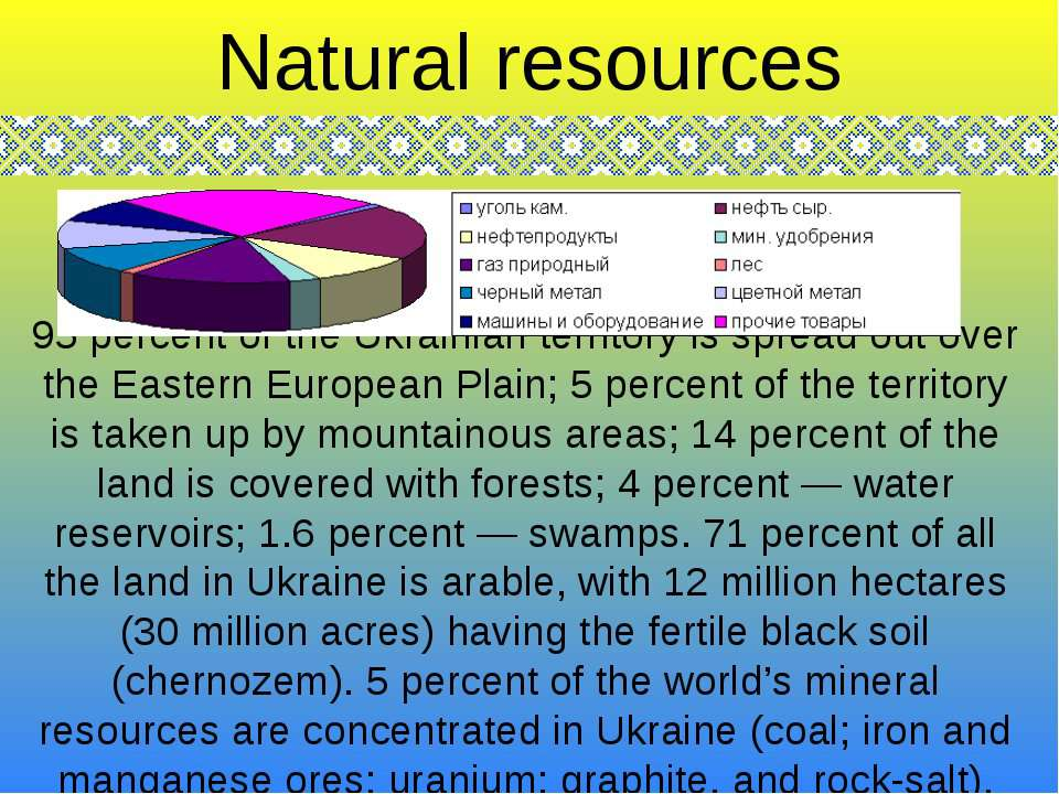95 percent of the Ukrainian territory is spread out over the Eastern European...