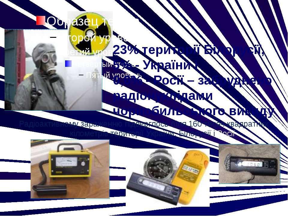 23% території Білорусії, 5% - України і 0,6% - Росії – забруднено радіонуклід...