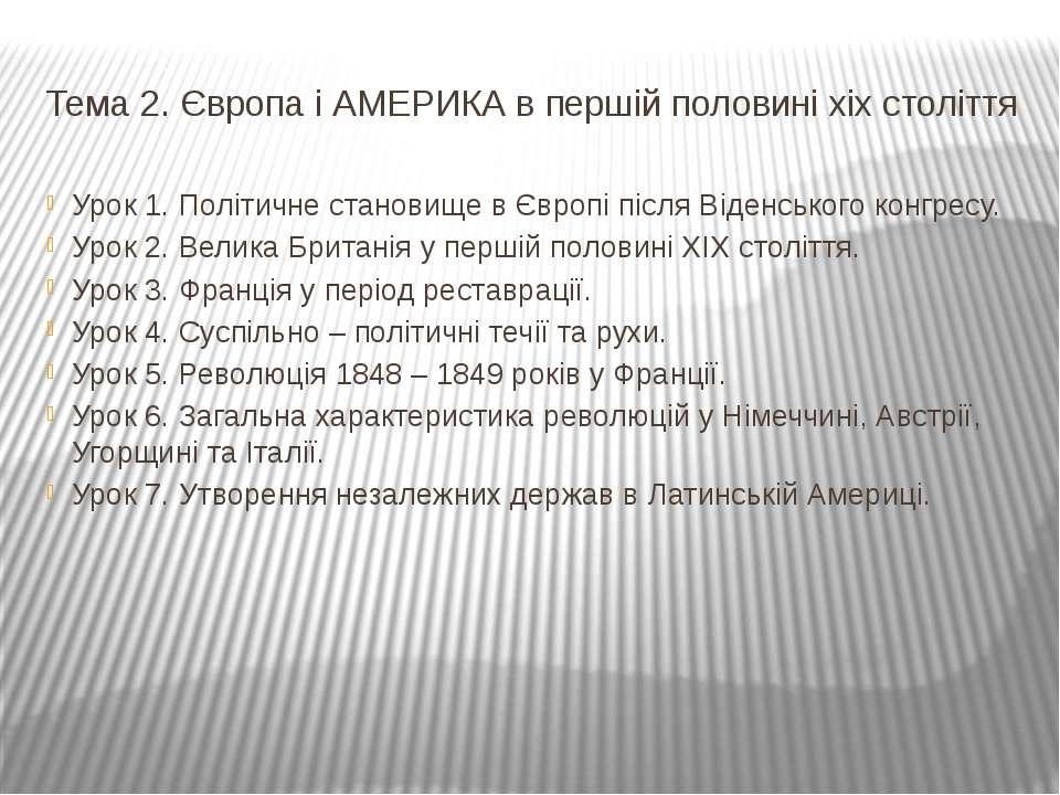 Тема 2. Європа і АМЕРИКА в першій половині хіх століття Урок 1. Політичне ста...