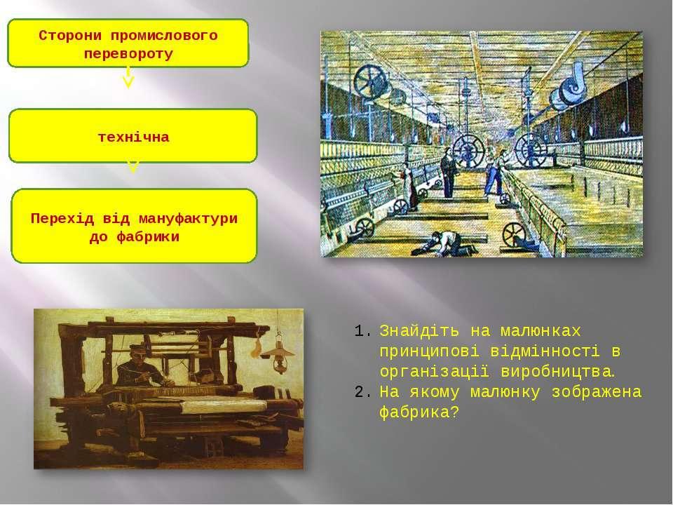 Сторони промислового перевороту технічна Перехід від мануфактури до фабрики З...