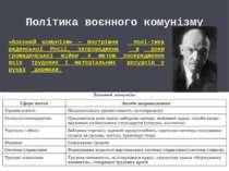 Політика воєнного комунізму «Воєнний комунізм» — внутрішня полі тика радянськ...