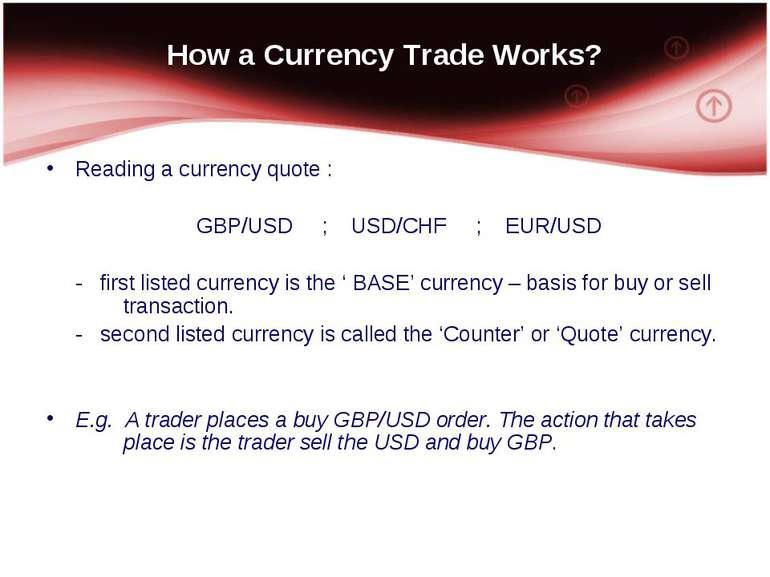 How a Currency Trade Works? Reading a currency quote : GBP/USD ; USD/CHF ; EU...
