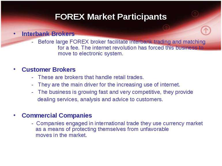FOREX Market Participants Interbank Brokers - Before large FOREX broker facil...