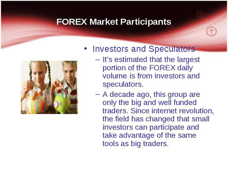 FOREX Market Participants Investors and Speculators It's estimated that the l...