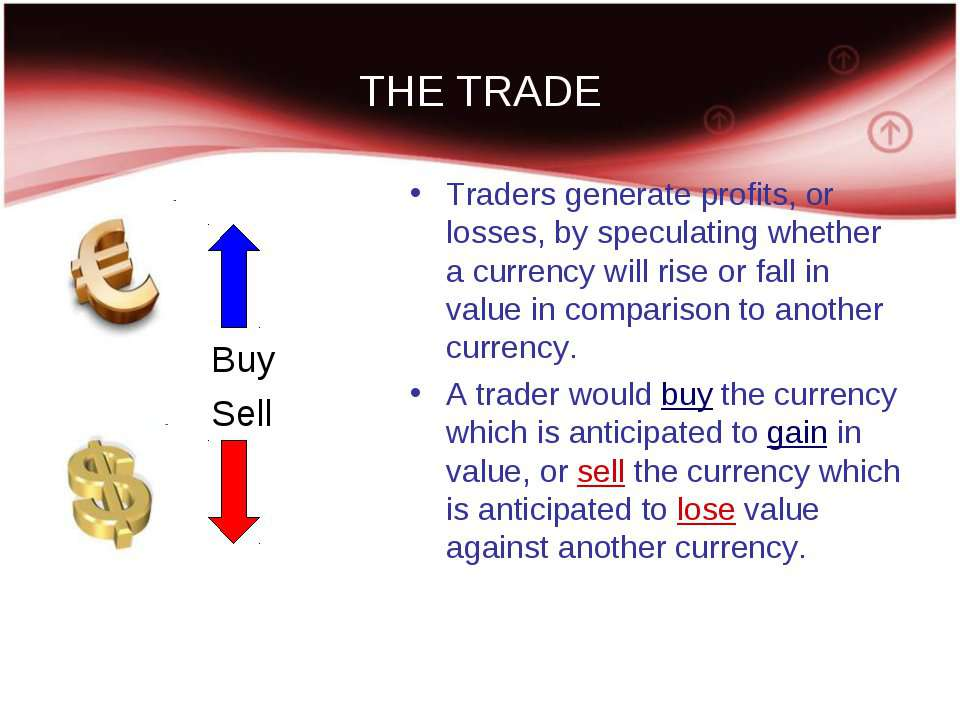 THE TRADE Buy Sell Traders generate profits, or losses, by speculating whethe...