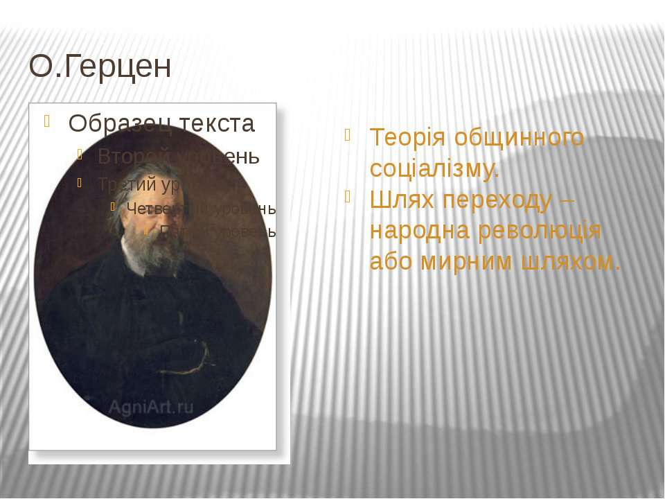 О.Герцен Теорія общинного соціалізму. Шлях переходу – народна революція або м...