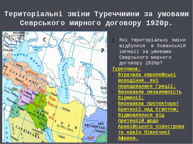 Територіальні зміни Туреччиини за умовами Севрського мирного договору 1920р. ...