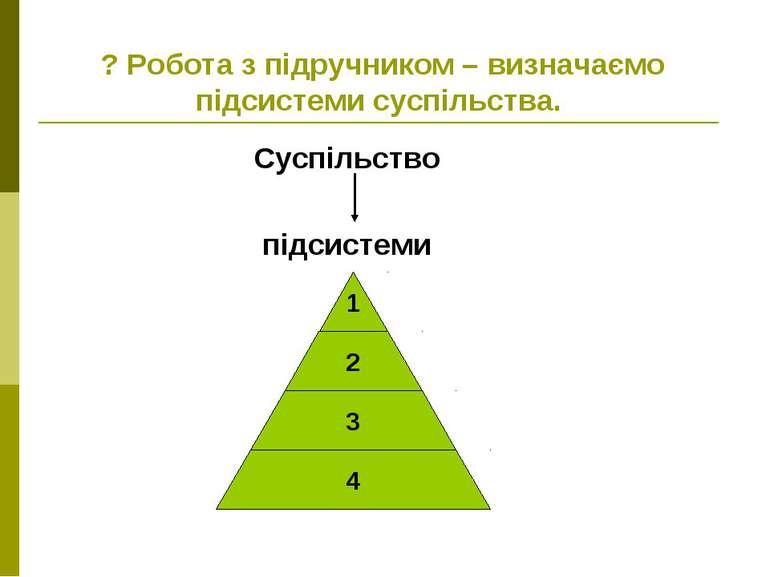 ? Робота з підручником – визначаємо підсистеми суспільства. Суспільство підси...