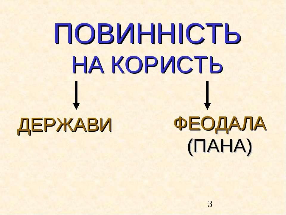 ПОВИННІСТЬ НА КОРИСТЬ ДЕРЖАВИ ФЕОДАЛА (ПАНА)