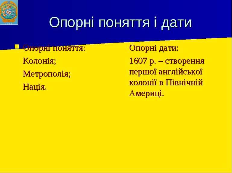 Опорні поняття і дати Опорні поняття: Колонія; Метрополія; Нація. Опорні дати...