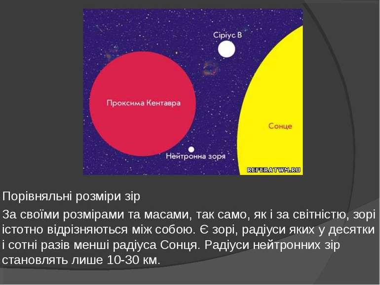 Порівняльні розміри зір За своїми розмірами та масами, так само, як і за світ...
