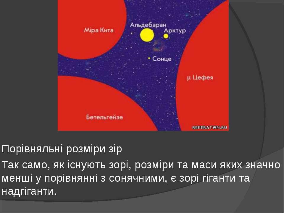 Порівняльні розміри зір Так само, як існують зорі, розміри та маси яких значн...