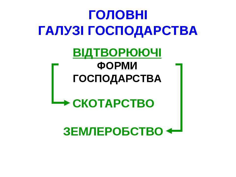 ГОЛОВНІ ГАЛУЗІ ГОСПОДАРСТВА ВІДТВОРЮЮЧІ ФОРМИ ГОСПОДАРСТВА СКОТАРСТВО ЗЕМЛЕРО...