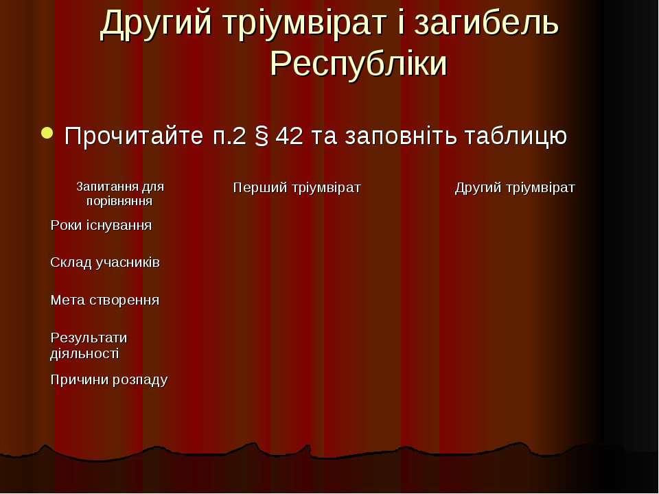 Другий тріумвірат і загибель Республіки Прочитайте п.2 § 42 та заповніть таблицю