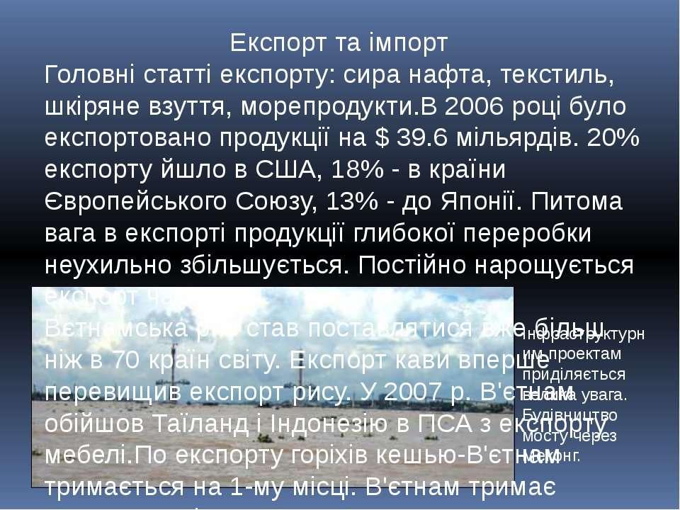 Експорт та імпорт Головні статті експорту: сира нафта, текстиль, шкіряне взут...
