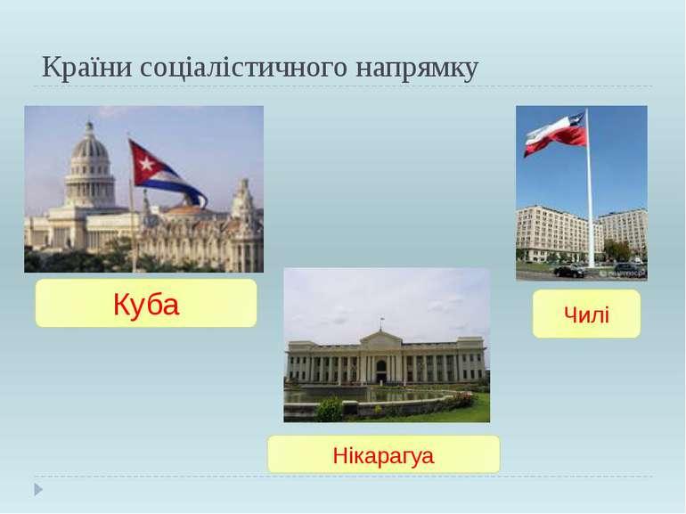 Країни соціалістичного напрямку Куба Чилі Нікарагуа