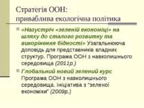 Стратегія ООН: приваблива екологічна політика «Назустріч «зеленій економіці» ...
