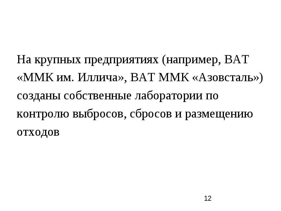 На крупных предприятиях (например, ВАТ «ММК им. Иллича», ВАТ ММК «Азовсталь»)...