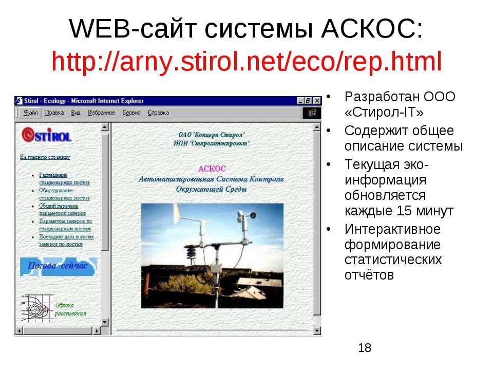 WEB-сайт системы АСКОС: http://arny.stirol.net/eco/rep.html Разработан ООО «С...