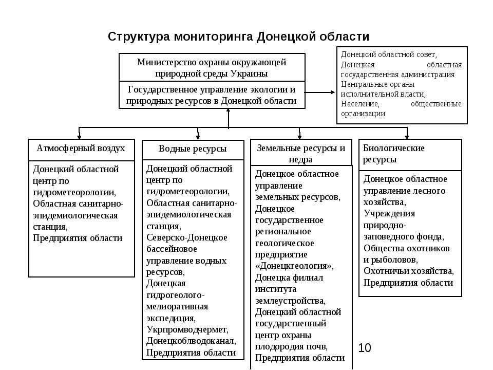 Структура мониторинга Донецкой области Государственное управление экологии и ...