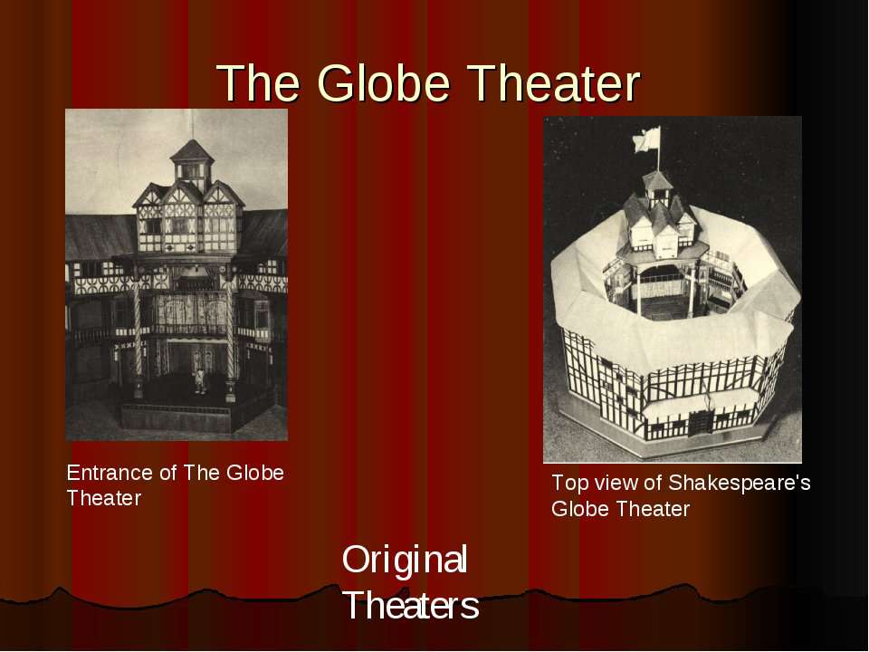 The Globe Theater Top view of Shakespeare's Globe Theater Entrance of The Glo...