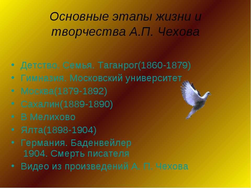 Основные этапы жизни и творчества А.П. Чехова Детство. Семья. Таганрог(1860-1...