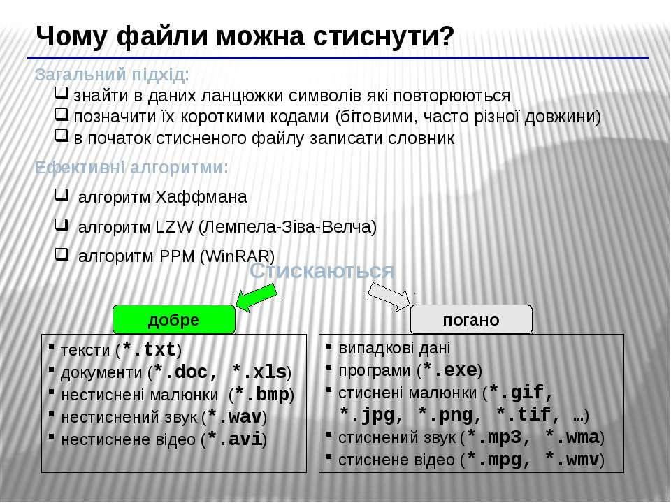 Чому файли можна стиснути? Загальний підхід: знайти в даних ланцюжки символів...
