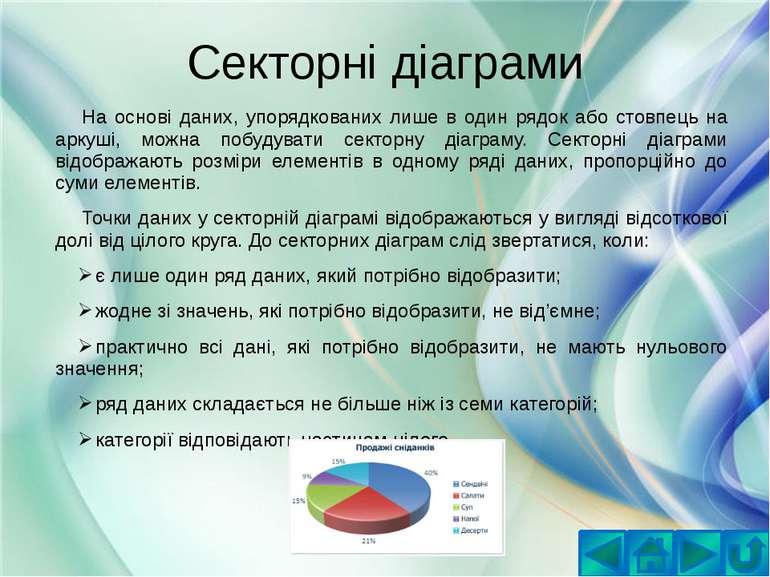 Секторні діаграмиНа основі даних, упорядкованих лише в один рядок або стовпец...
