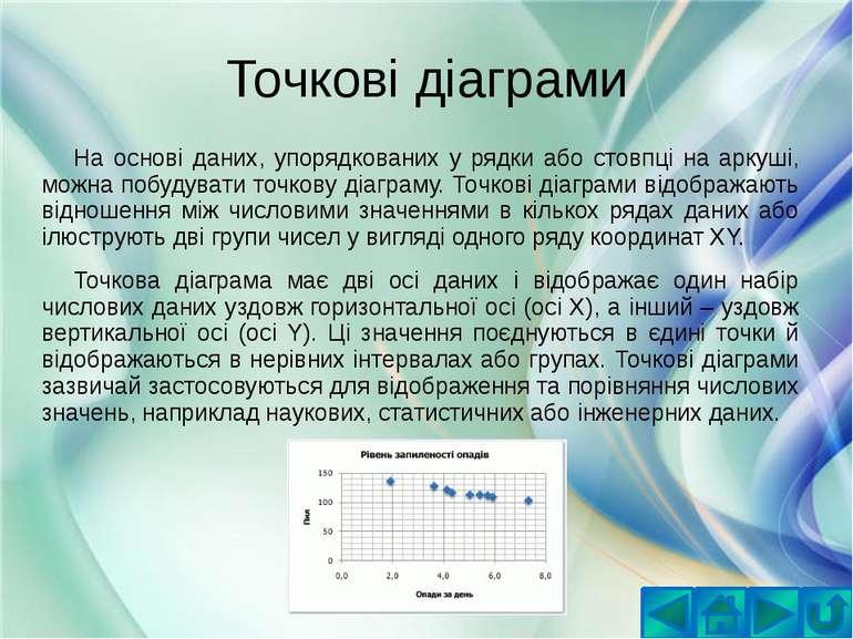 Точкові діаграмиНа основі даних, упорядкованих у рядки або стовпці на аркуші,...
