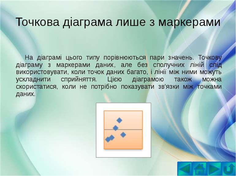 Точкова діаграма лише з маркерамиНа діаграмі цього типу порівнюються пари зна...