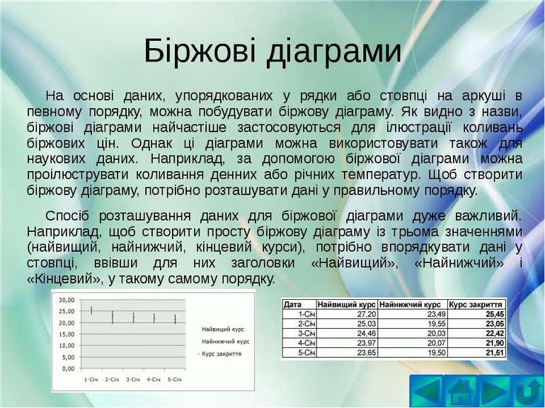 Біржові діаграмиНа основі даних, упорядкованих у рядки або стовпці на аркуші ...