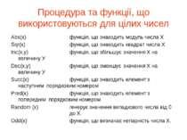 Процедура та функції, що використовуються для цілих чисел Abs(x) функція, що ...