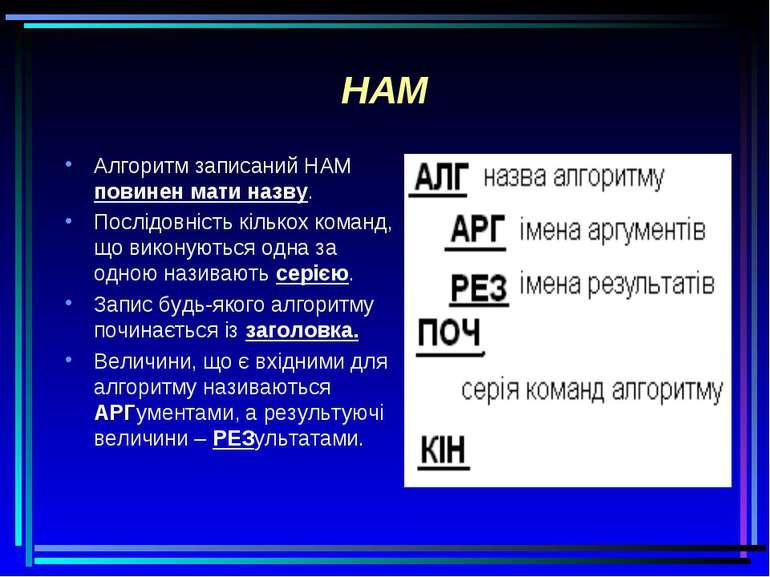 НАМ Алгоритм записаний НАМ повинен мати назву. Послідовність кількох команд, ...
