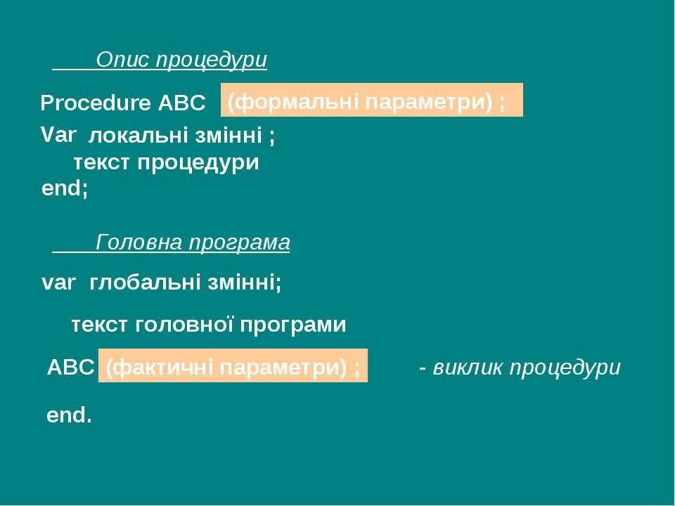 Procedure ABC (формальні параметри) ; Var локальні змінні ; текст процедури v...