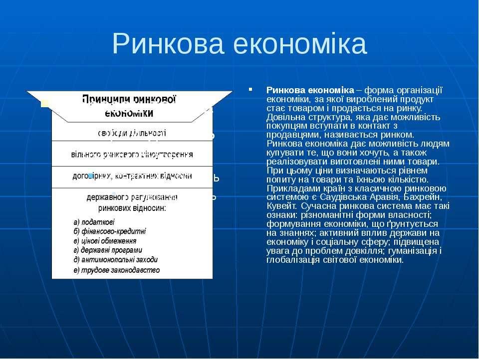 Ринкова економіка Ринкова економіка – форма організації економіки, за якої ви...