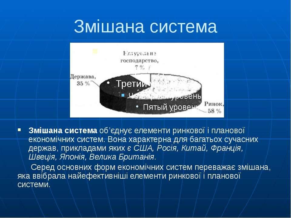 Змішана система Змішана система об'єднує елементи ринкової і планової економі...
