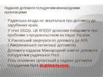 Надання допомоги голодуючим міжнародними організаціями Радянська влада не зве...