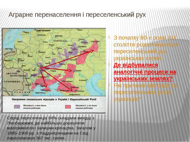 Аграрне перенаселення і переселенський рух З початку 80-х років ХІХ століття ...