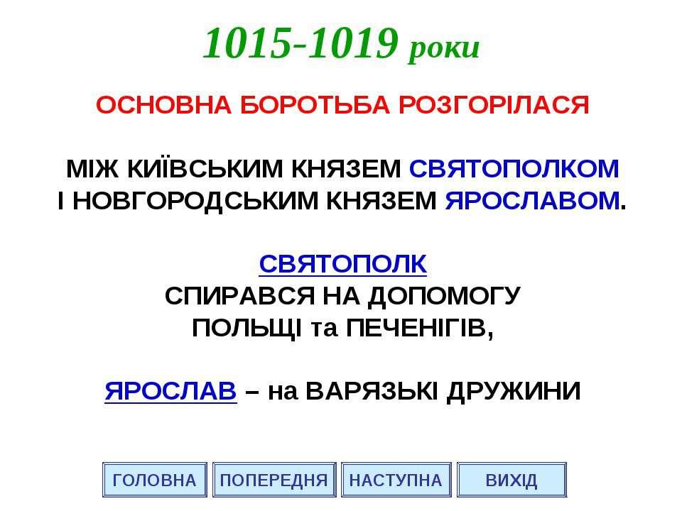 ГОЛОВНА НАСТУПНА ВИХІД 1015-1019 роки ПОПЕРЕДНЯ ОСНОВНА БОРОТЬБА РОЗГОРІЛАСЯ ...