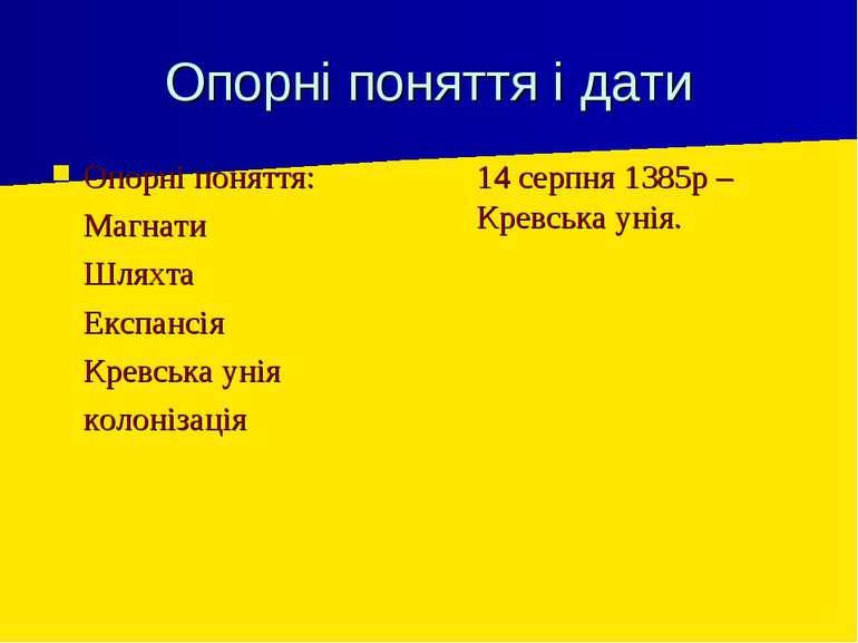 Опорні поняття і дати Опорні поняття: Магнати Шляхта Експансія Кревська унія ...