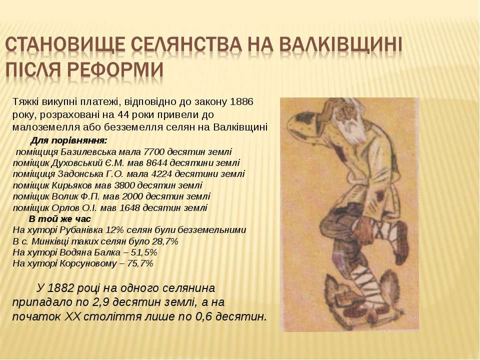 Тяжкі викупні платежі, відповідно до закону 1886 року, розраховані на 44 роки...