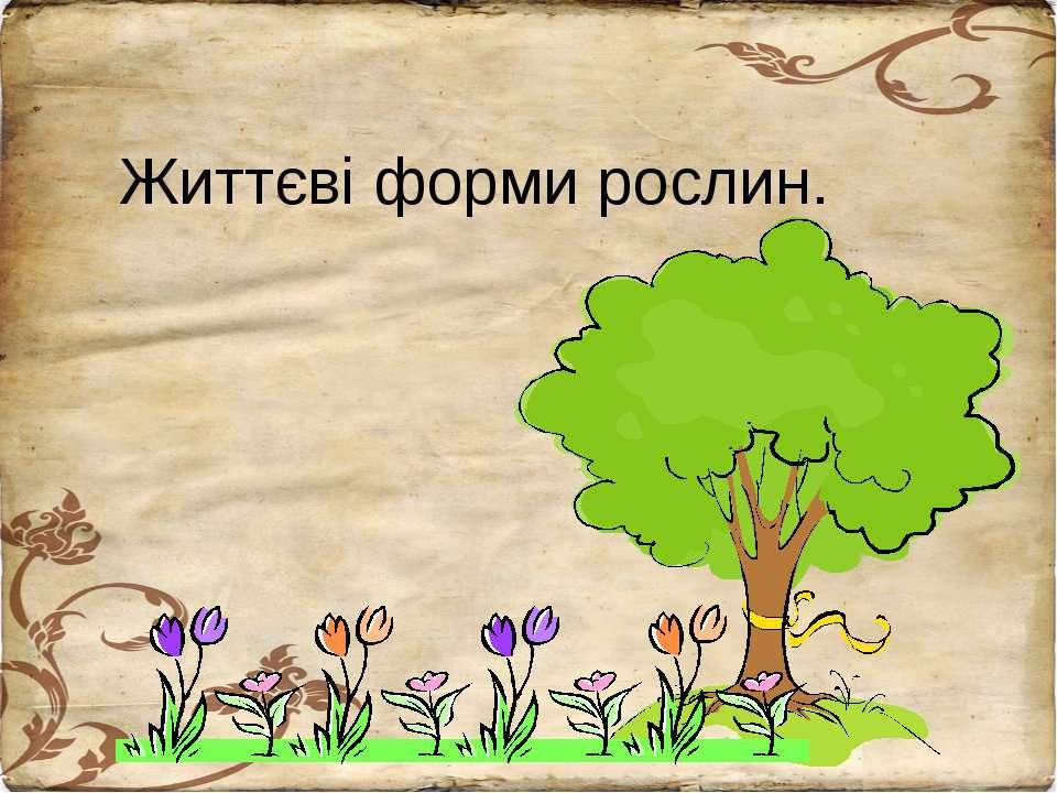 Життєві форми рослин.
