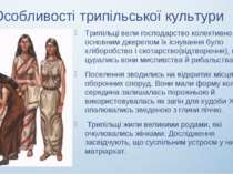 Особливості трипільської культури Трипільці вели господарство колективно, осн...