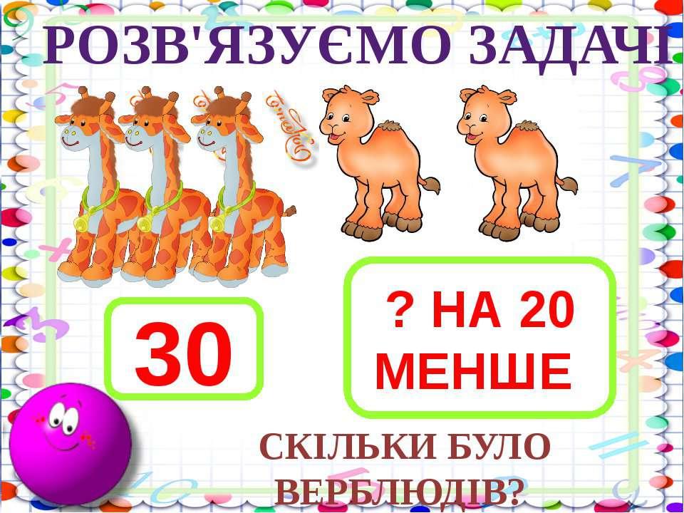 3 + 2 - 5 10 – 1 - 2 5 + 2 + 3 РОЗВ'ЯЗУЄМО ЗАДАЧІ 30 ? НА 20 МЕНШЕ СКІЛЬКИ БУ...