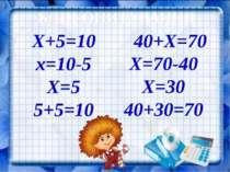 БЛІЦ-ОПИТУВАННЯ Х+5=10 40+Х=70 х=10-5 Х=5 5+5=10 Х=70-40 Х=30 40+30=70