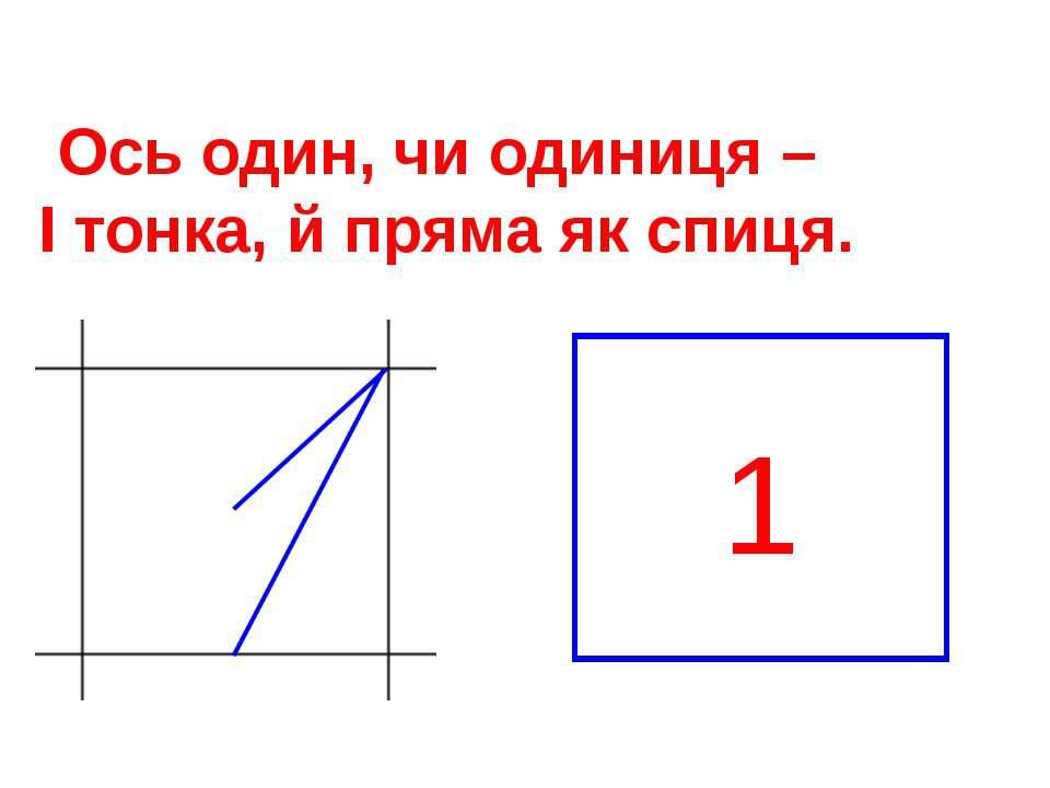 Ось один, чи одиниця – І тонка, й пряма як спиця. 1