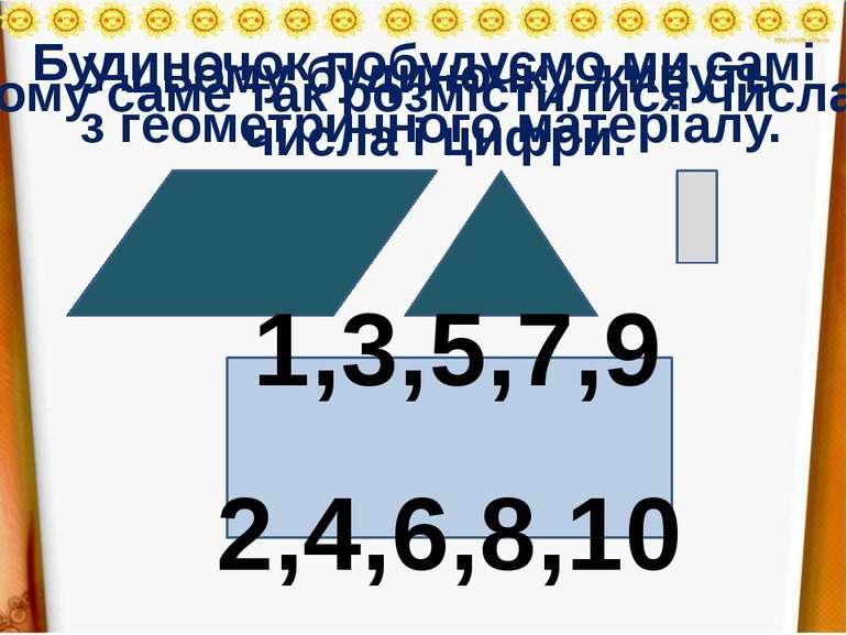 Будиночок побудуємо ми самі з геометричного матеріалу. У цьому будиночку живу...