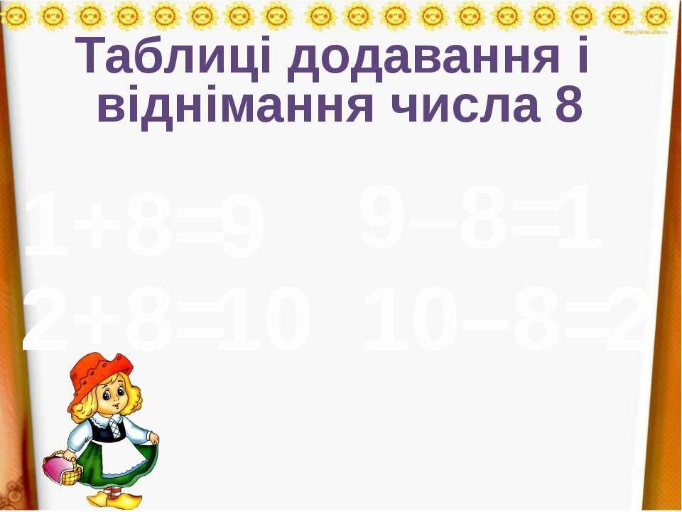 Таблиці додавання і віднімання числа 8 1+8= 2+8= 9 10 9–8= 1 10–8= 2