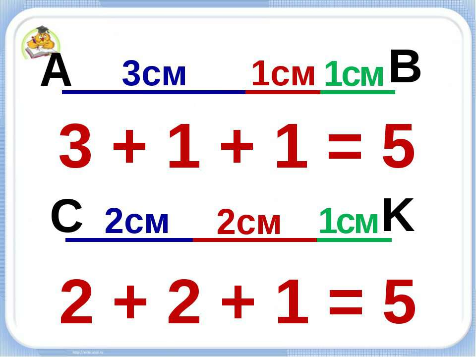 3см 1см 1см 2см 2см 1см A B C K 3 + 1 + 1 = 5 2 + 2 + 1 = 5